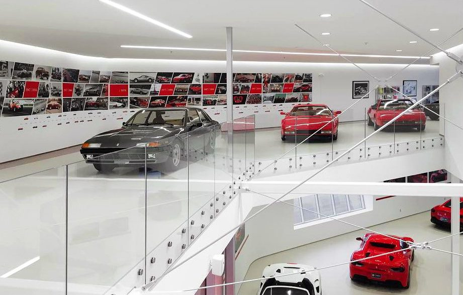 Mezzannine and car showroom at Cauley Ferrari of Detroit Dealership and Showroom Project in Michigan Architecture Interiors Computational Design