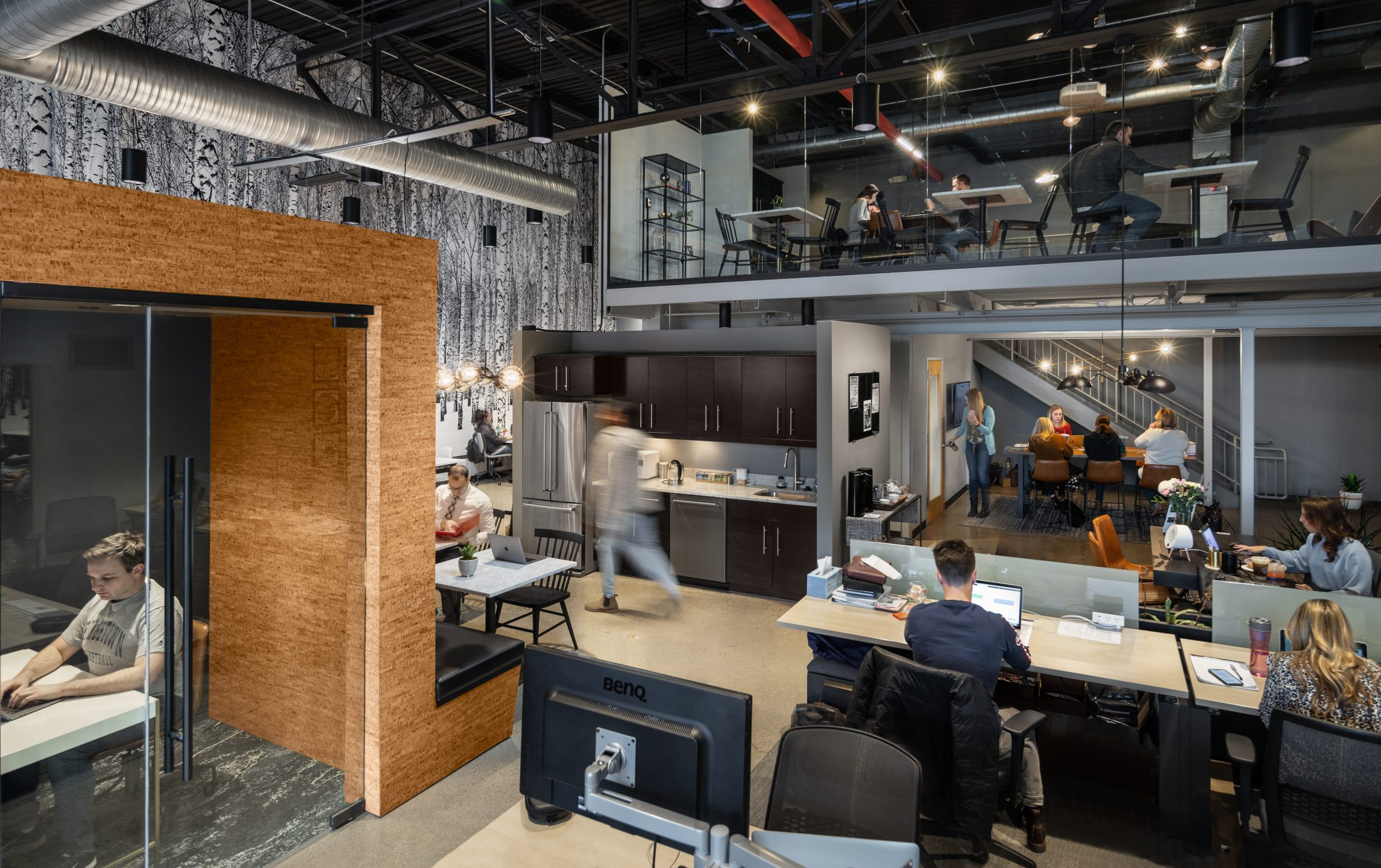 Core, dedicated desks, kitchen, reception, mezzanine, and lounge at AMITY Co-Working project in Northville Michigan Architecture and Interior Design