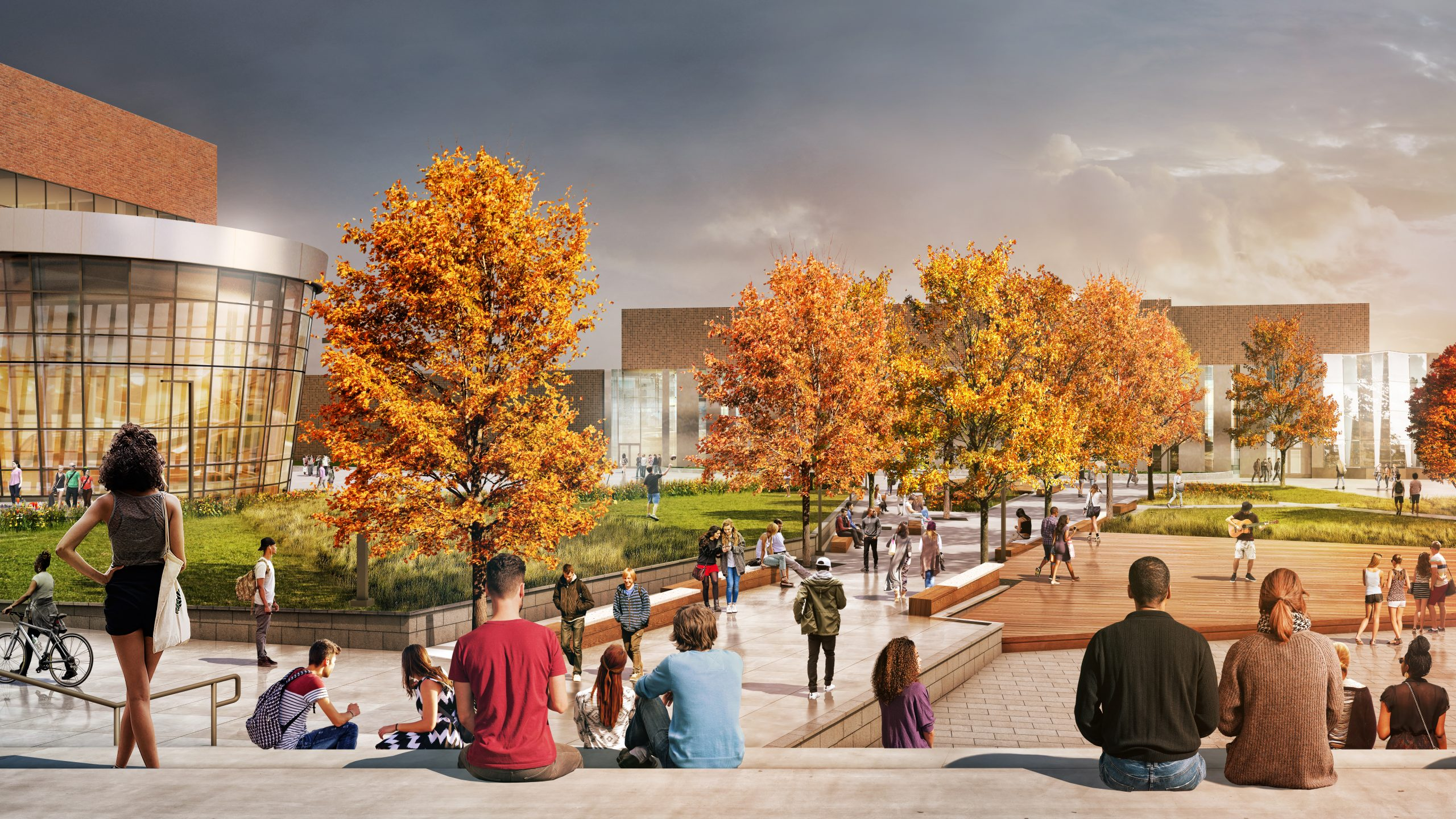 Rendering of people sitting at Lansing Community College Quad Project Proposal in Michigan Urban Design