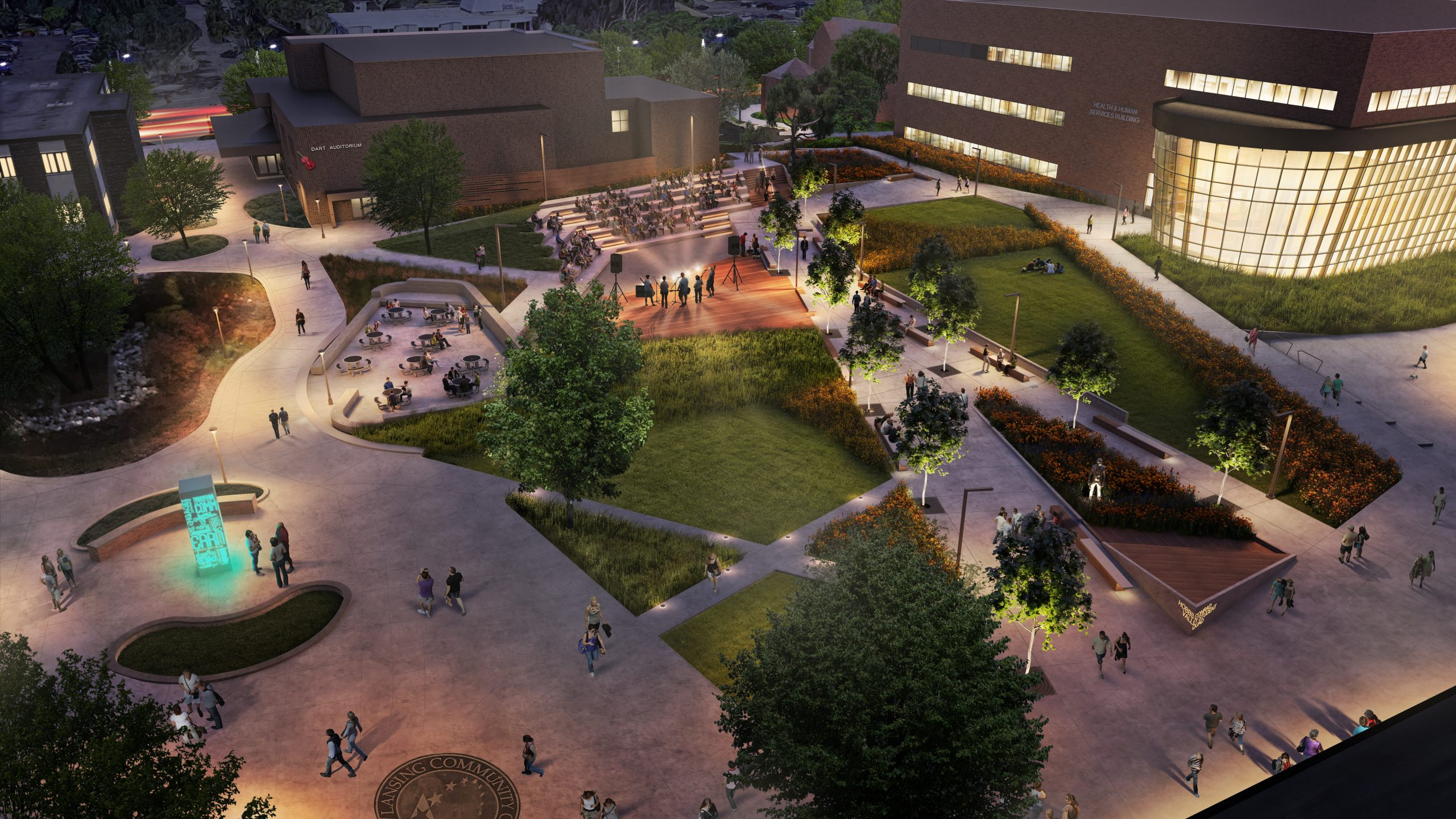 Aerial Rendering of amphitheater at Lansing Community College Quad Project Proposal in Michigan Urban Design