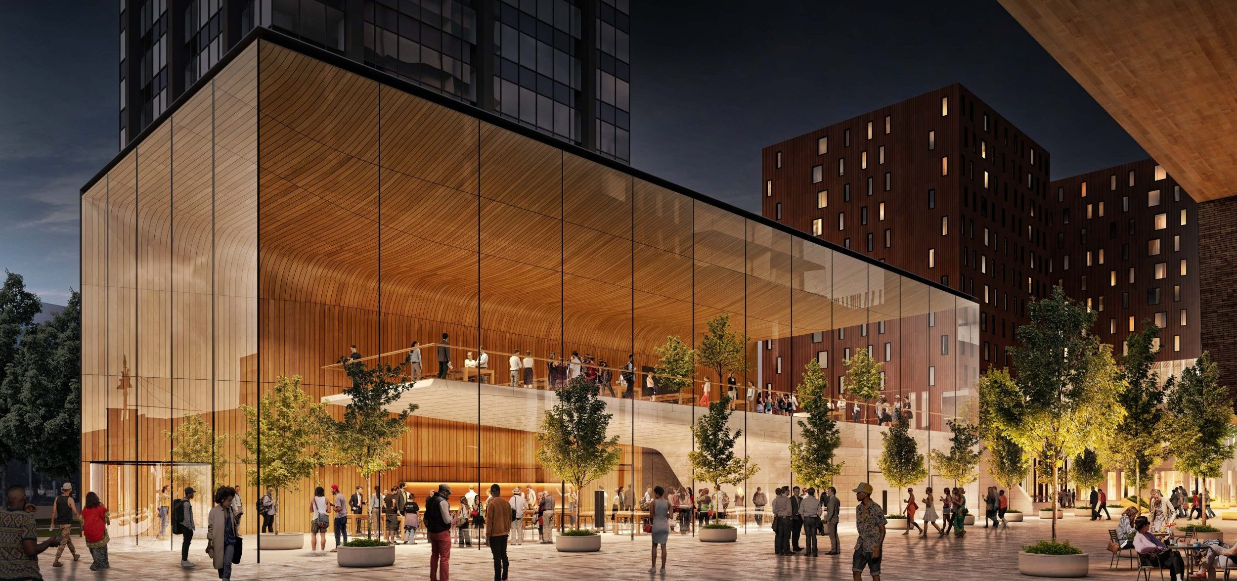 Rendering of glass retail pavilion at the Mid Mixed-Use Development Project in Detroit Michigan Architecture and Urban Design