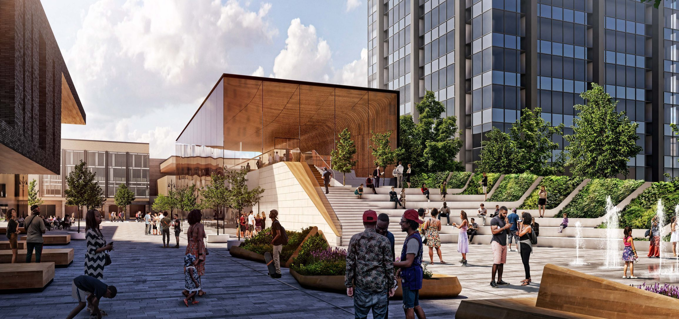 Rendering of public plaza and retail pavilion steps at the Mid Mixed-Use Development Project in Detroit Michigan Architecture and Urban Design