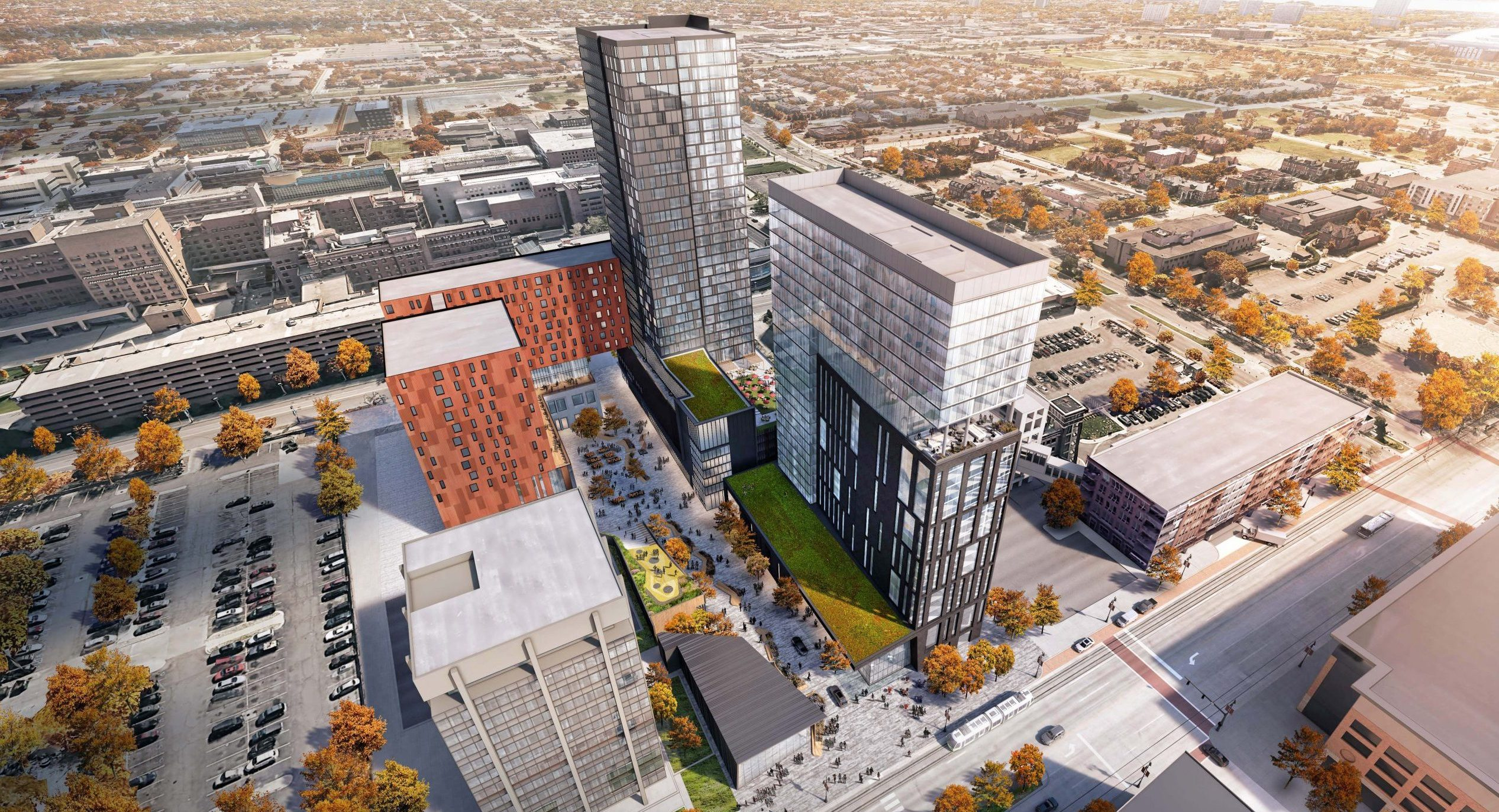 Aerial rendering of the Mid Mixed-Use Development Project in Detroit Michigan Architecture and Urban Design