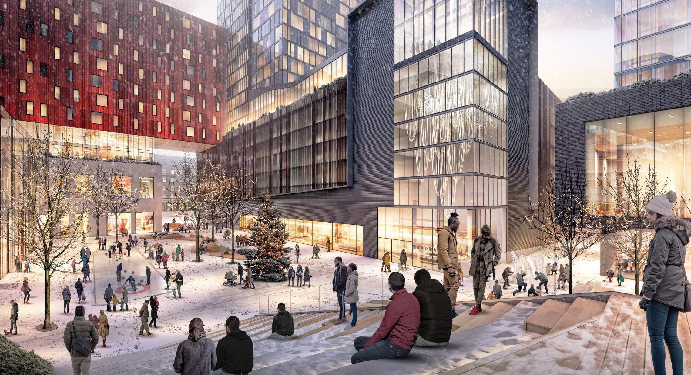 Rendering of people in public plaza in winter at the Mid Mixed-Use Development Project in Detroit Michigan Architecture and Urban Design