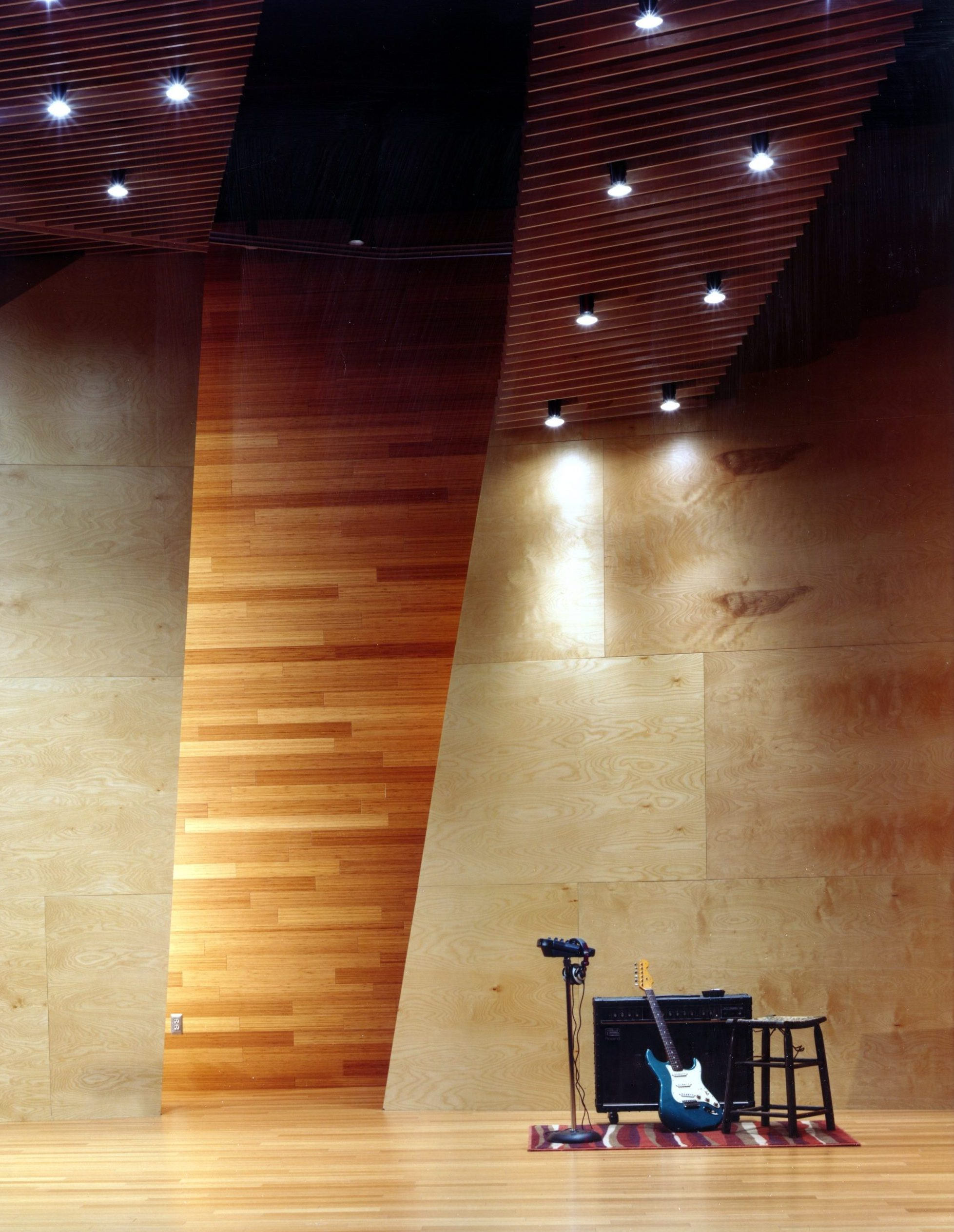 Wood and lighting detail of live room at Effigy Studio Project in Ferndale Michigan Architecture Interior Design