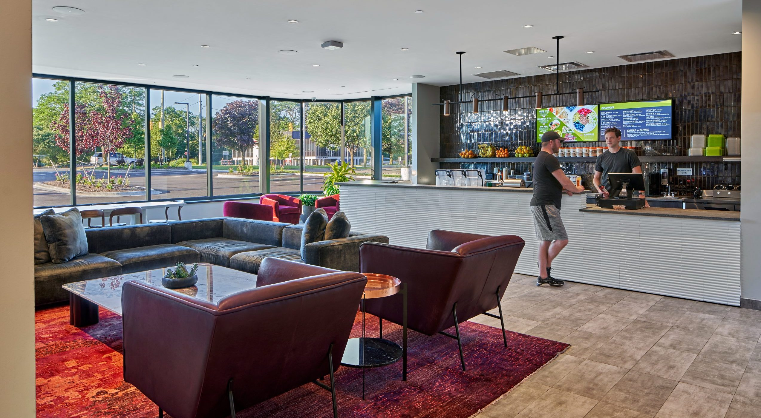 View of cafe and dining lounge at Equinox Fitness Club Bloomfield Hills Project in Michigan Architecture and Interior Design