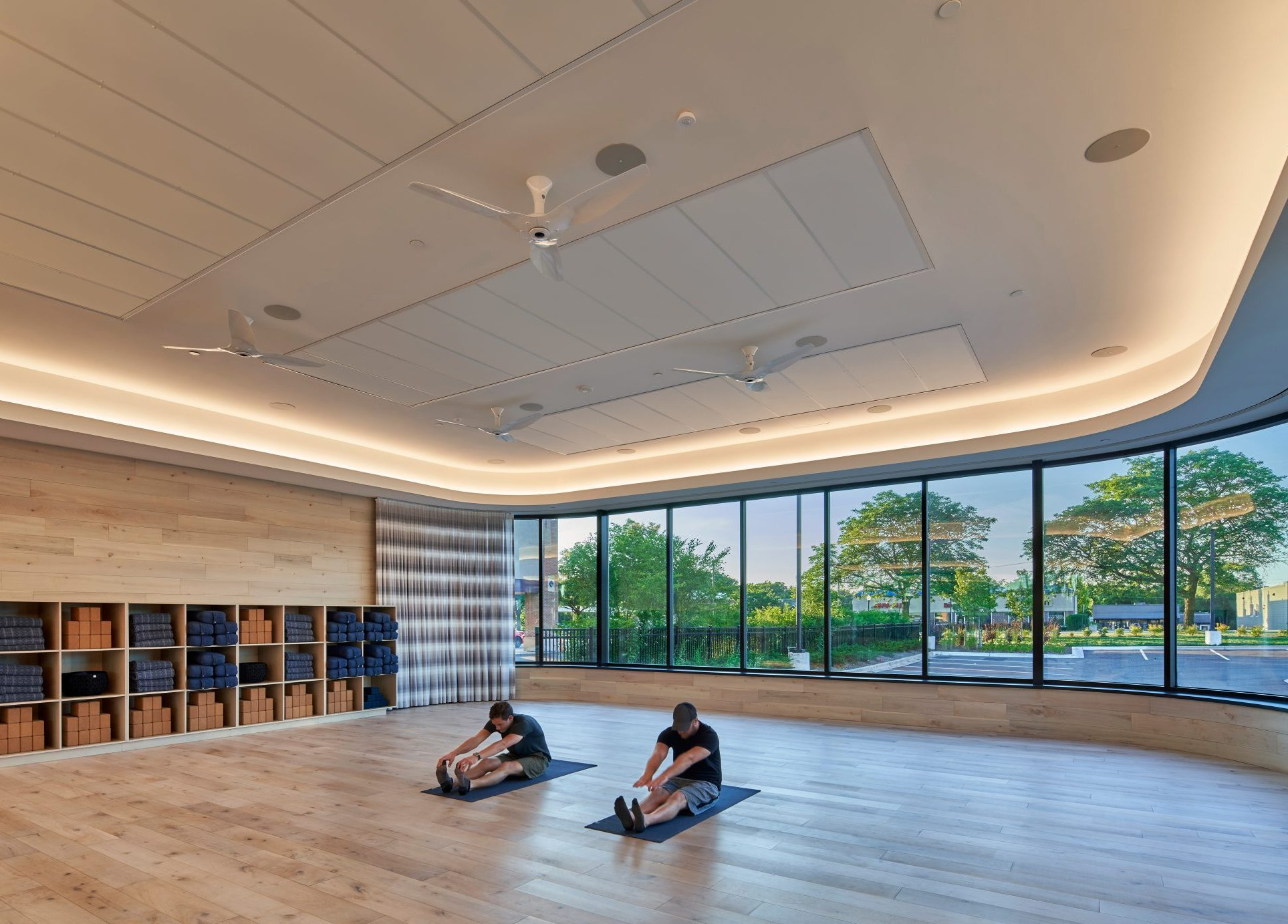 View of yoga studio at Equinox Fitness Club Bloomfield Hills Project in Michigan Architecture and Interior Design