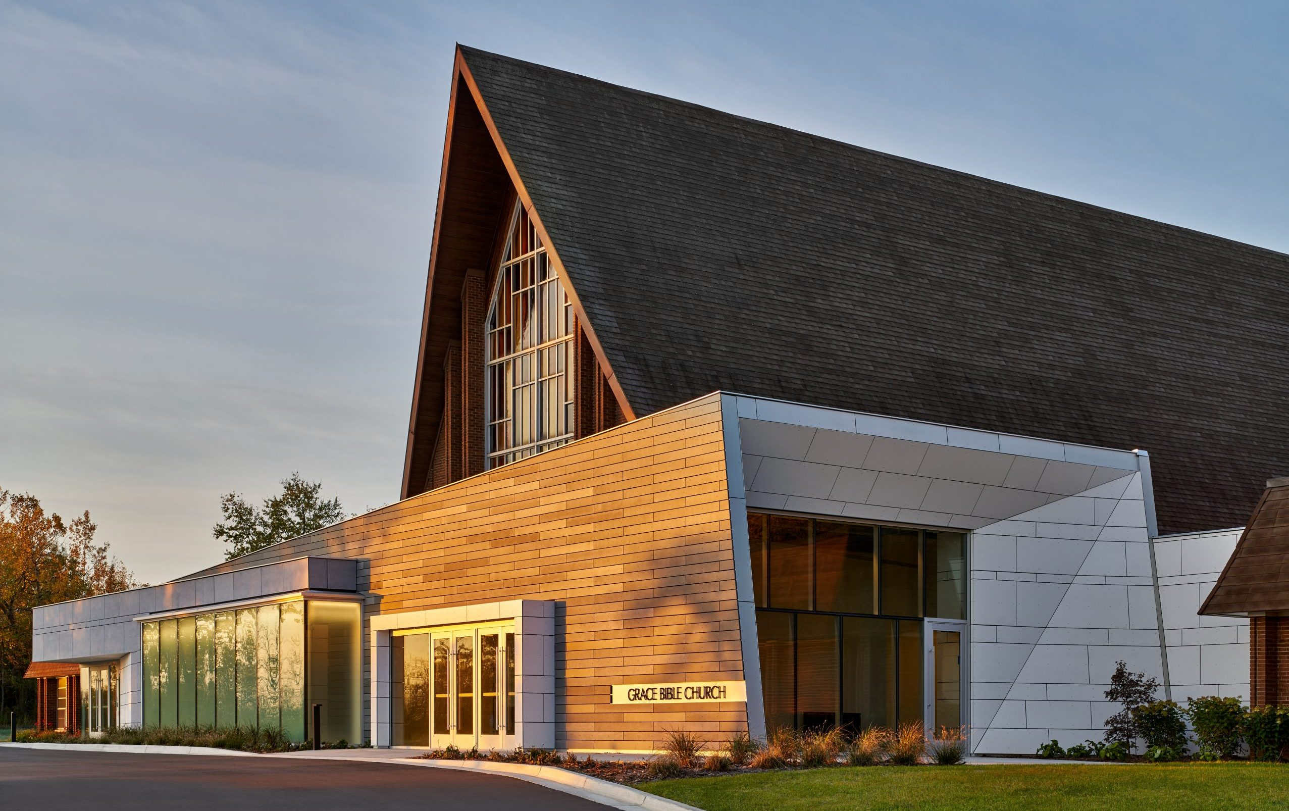 Exterior elevation of addition at Grace Bible Church Project in Ann Arbor Michigan Architecture and Interior Design