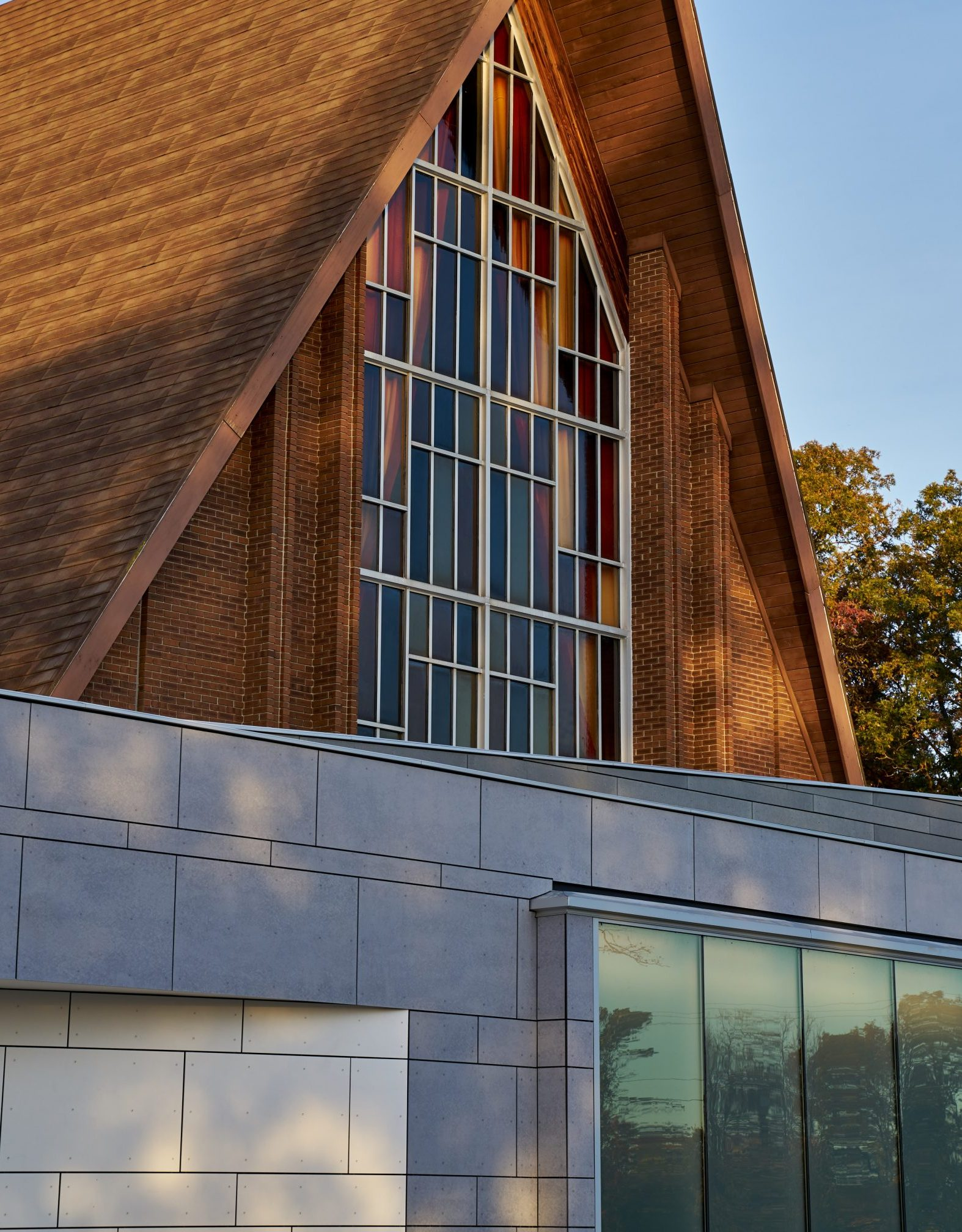 Exterior detail of panels and addition at Grace Bible Church Project in Ann Arbor Michigan Architecture and Interior Design