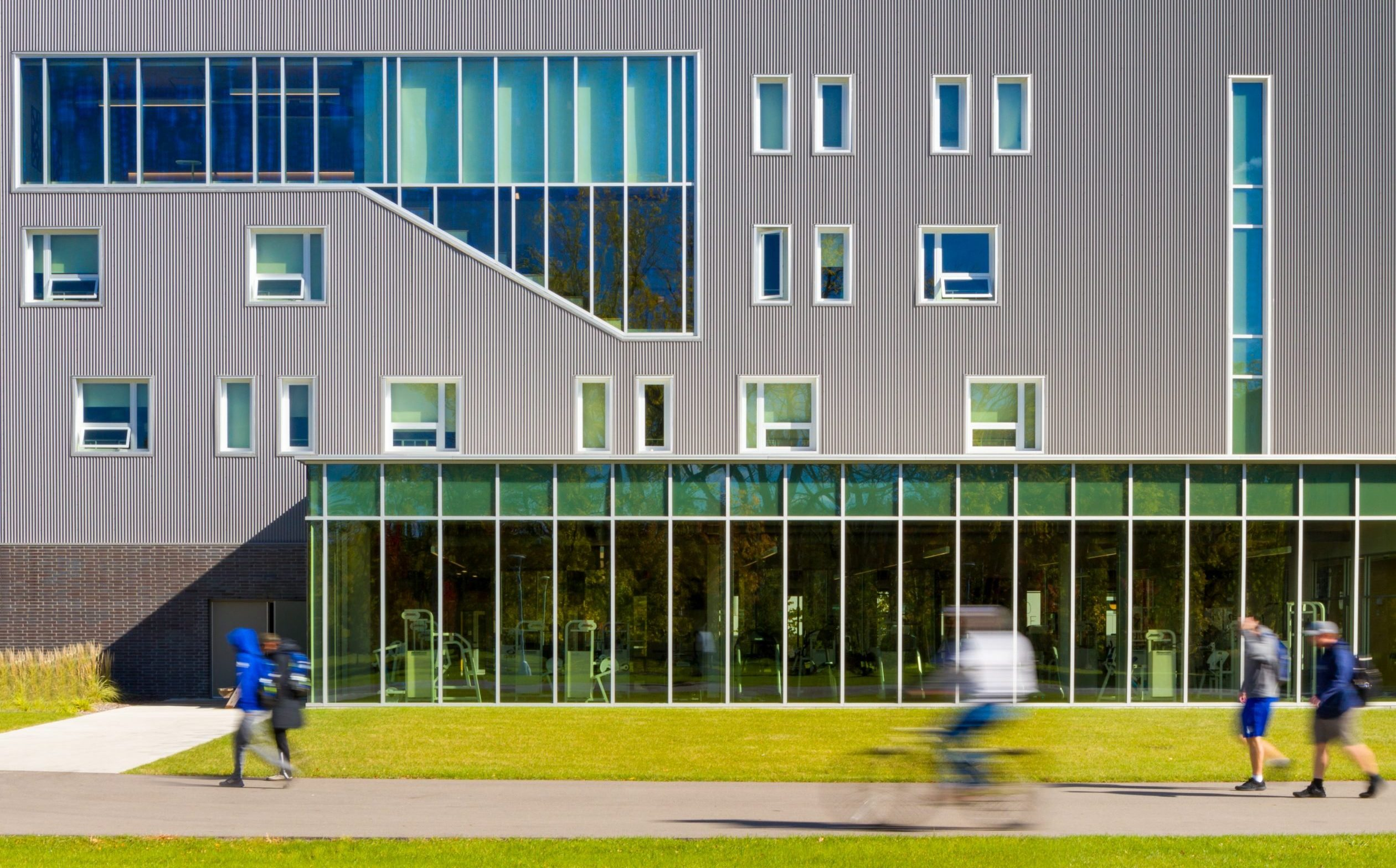 Elevation showing facade pattern and metal panels at Lawrence Technological University East Residence Hall Project in Southfield Michigan Architecture Interior Urban Design Computation Technology