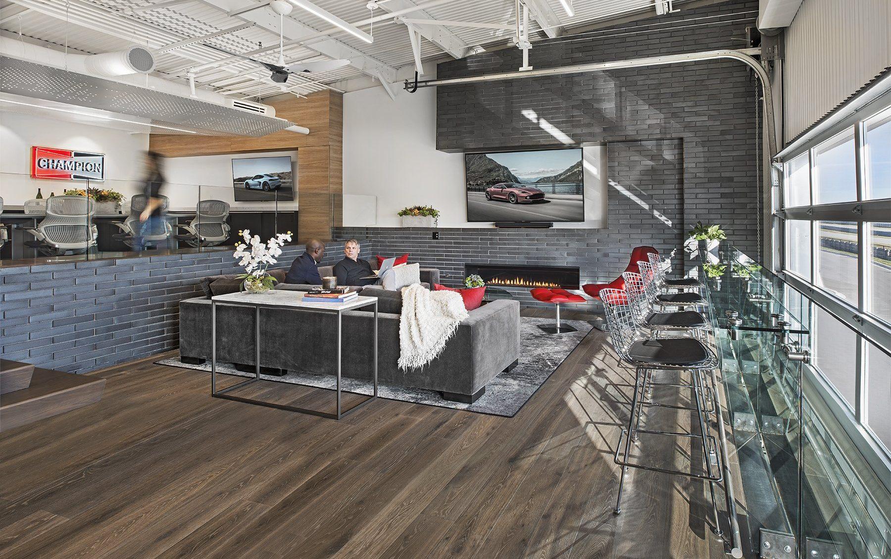 Interior view of living room at M1 Concourse Car Condos Project in Pontiac Michigan Architecture Interior Design