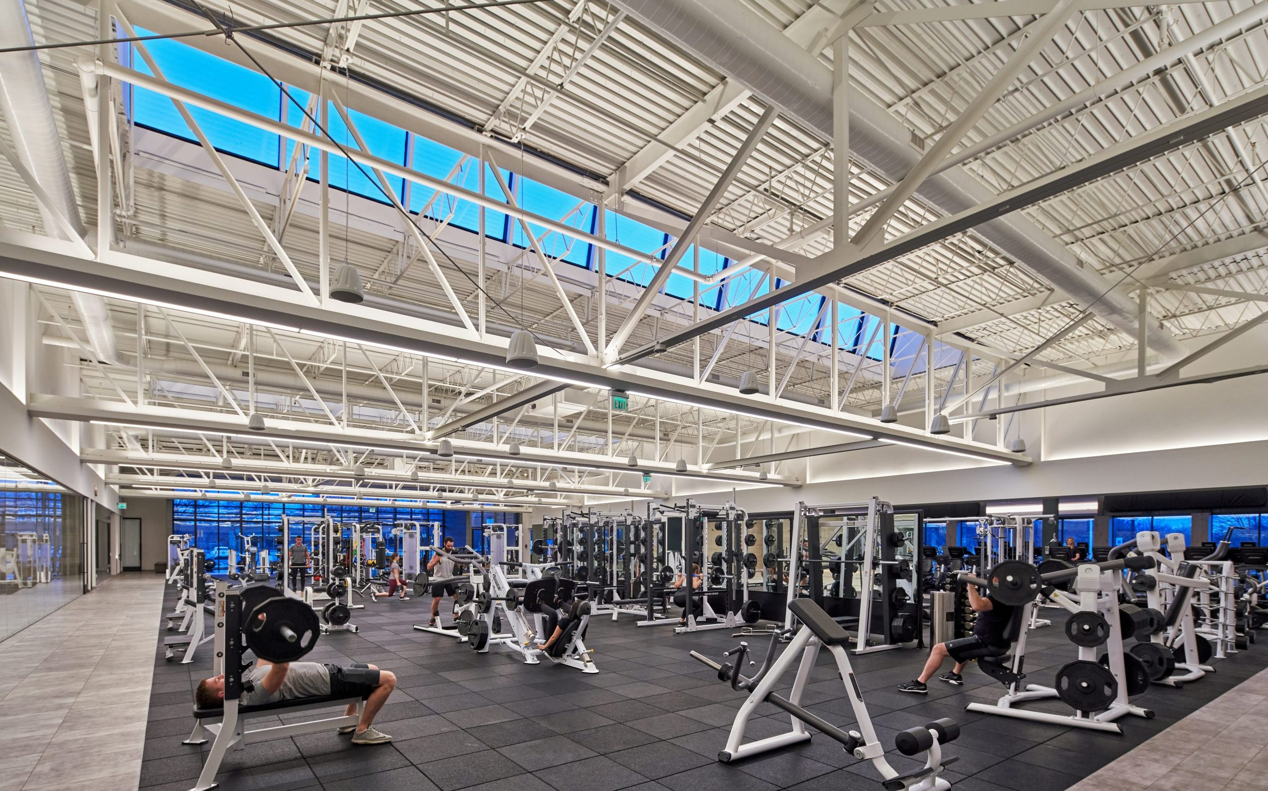 View of strength floor at Equinox Fitness Club Bloomfield Hills Project in Michigan Architecture and Interior Design
