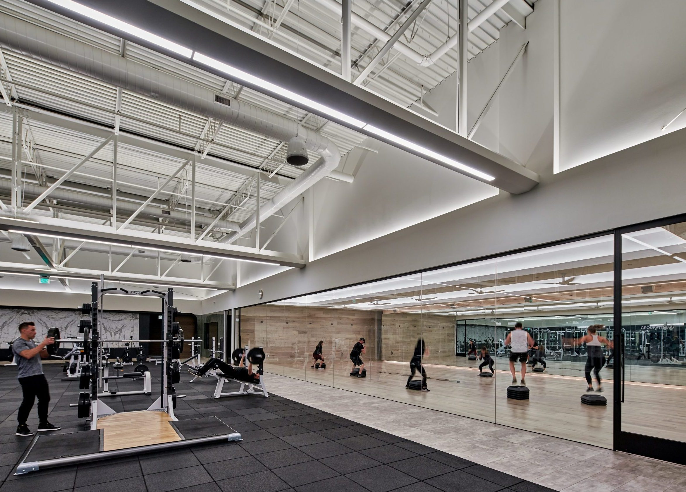 View of strength floor and classes at Equinox Fitness Club Bloomfield Hills Project in Michigan Architecture and Interior Design