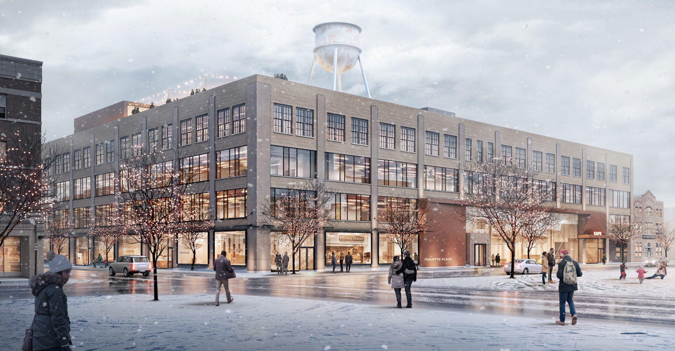 Winter rendering of street frontage at Piquette Place Commercial Office Project in Detroit Michigan Architecture Adaptive Reuse