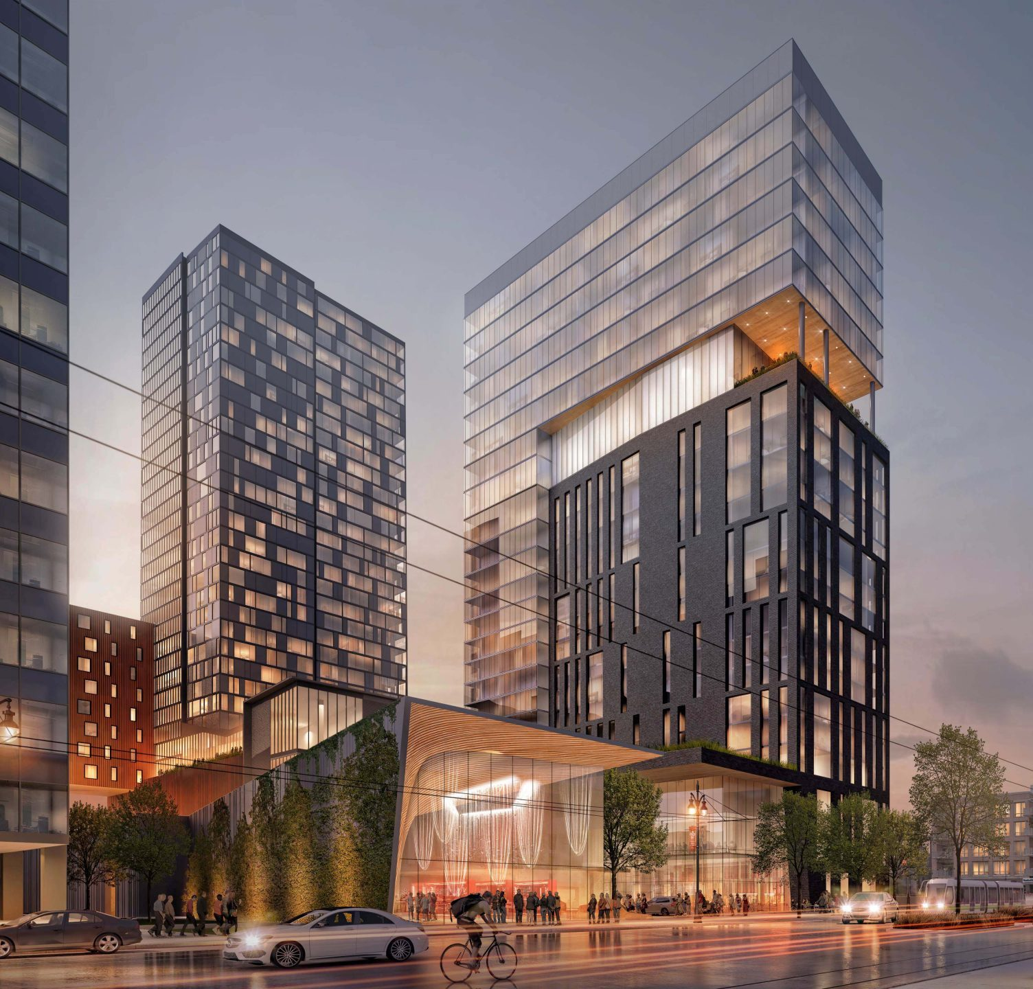 Rendering of Woodward Avenue at the Mid Mixed-Use Development Project in Detroit Michigan Architecture and Urban Design