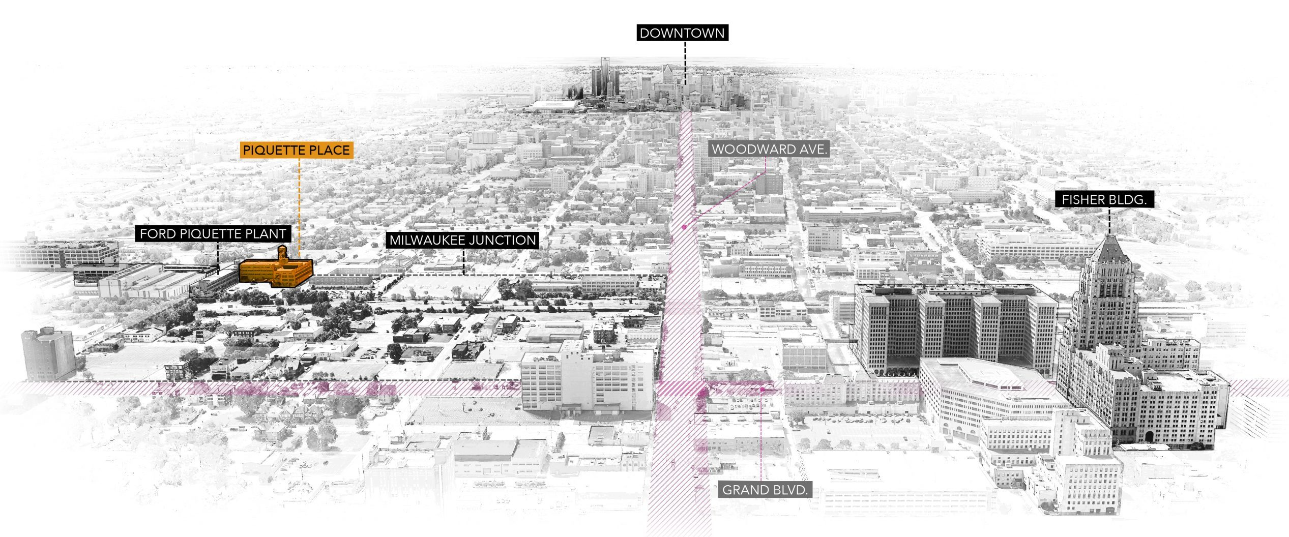 Context District Analysis Diagram of Piquette Place Commercial Office Project distance to downtown Detroit Michigan Architecture Adaptive Reuse