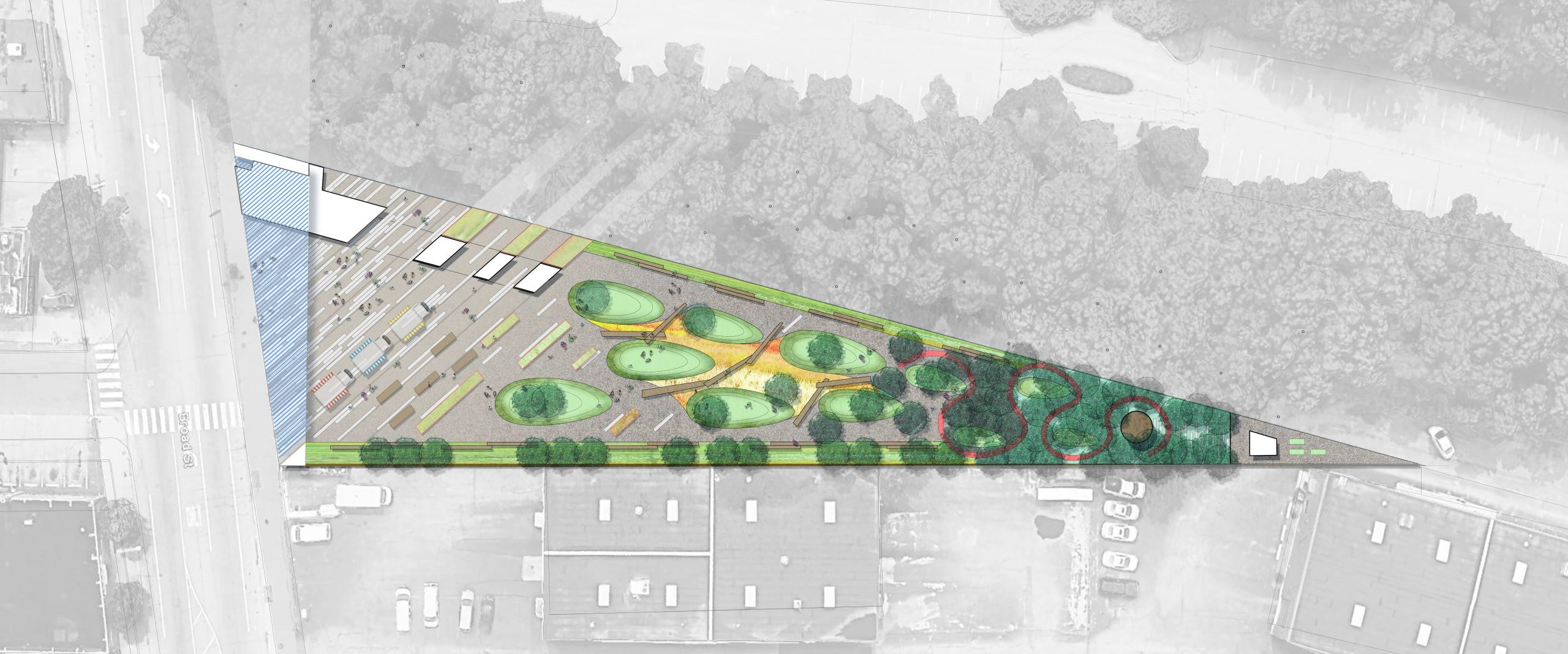 Site plan of Roger Williams Park Gateway and Visitor's Center Project on Broad Street in Providence Rhode Island Urban Design and Architecture
