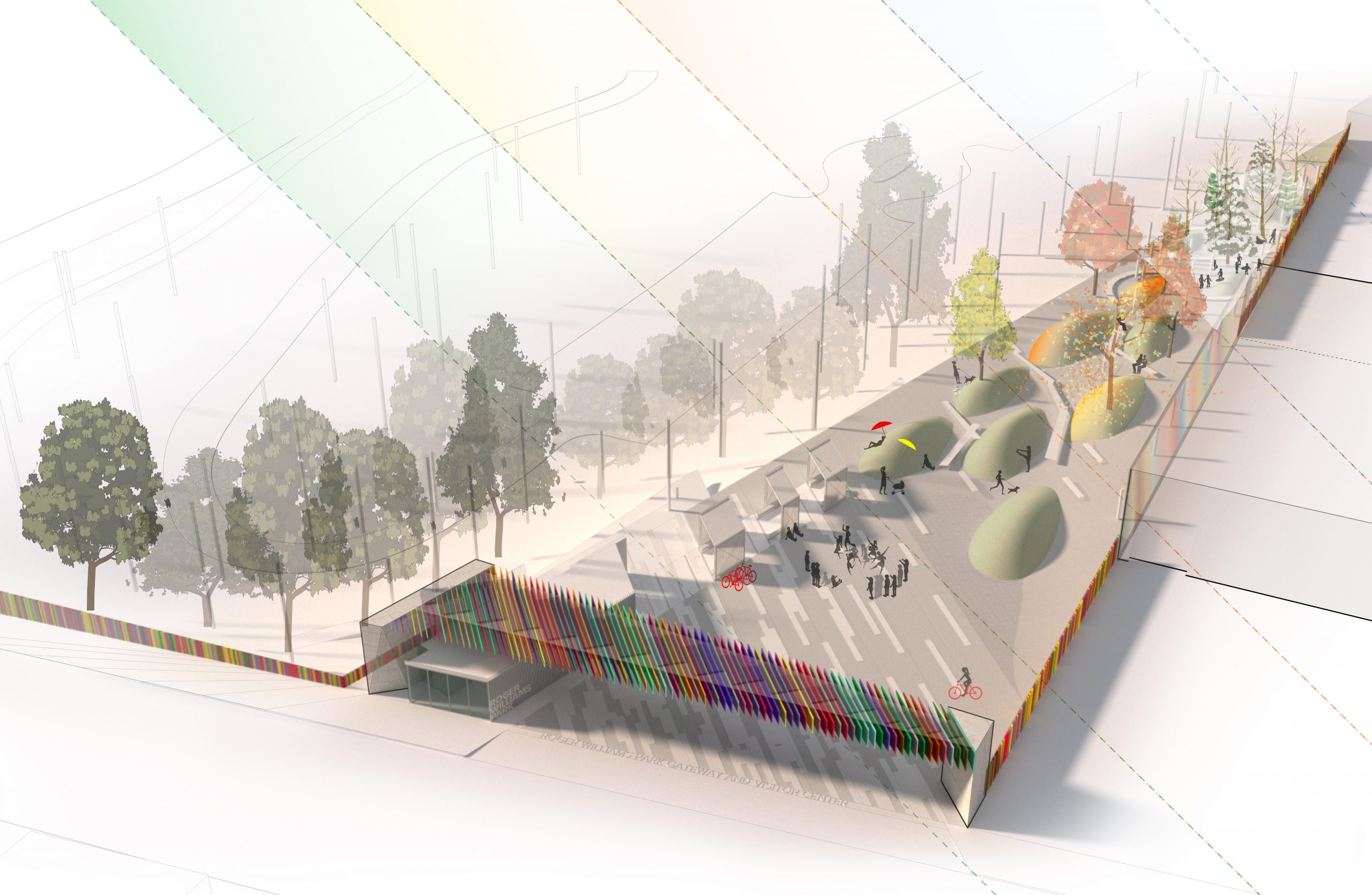 Diagram of seasons in public park of Roger Williams Park Gateway and Visitor's Center Project on Broad Street in Providence Rhode Island Urban Design and Architecture