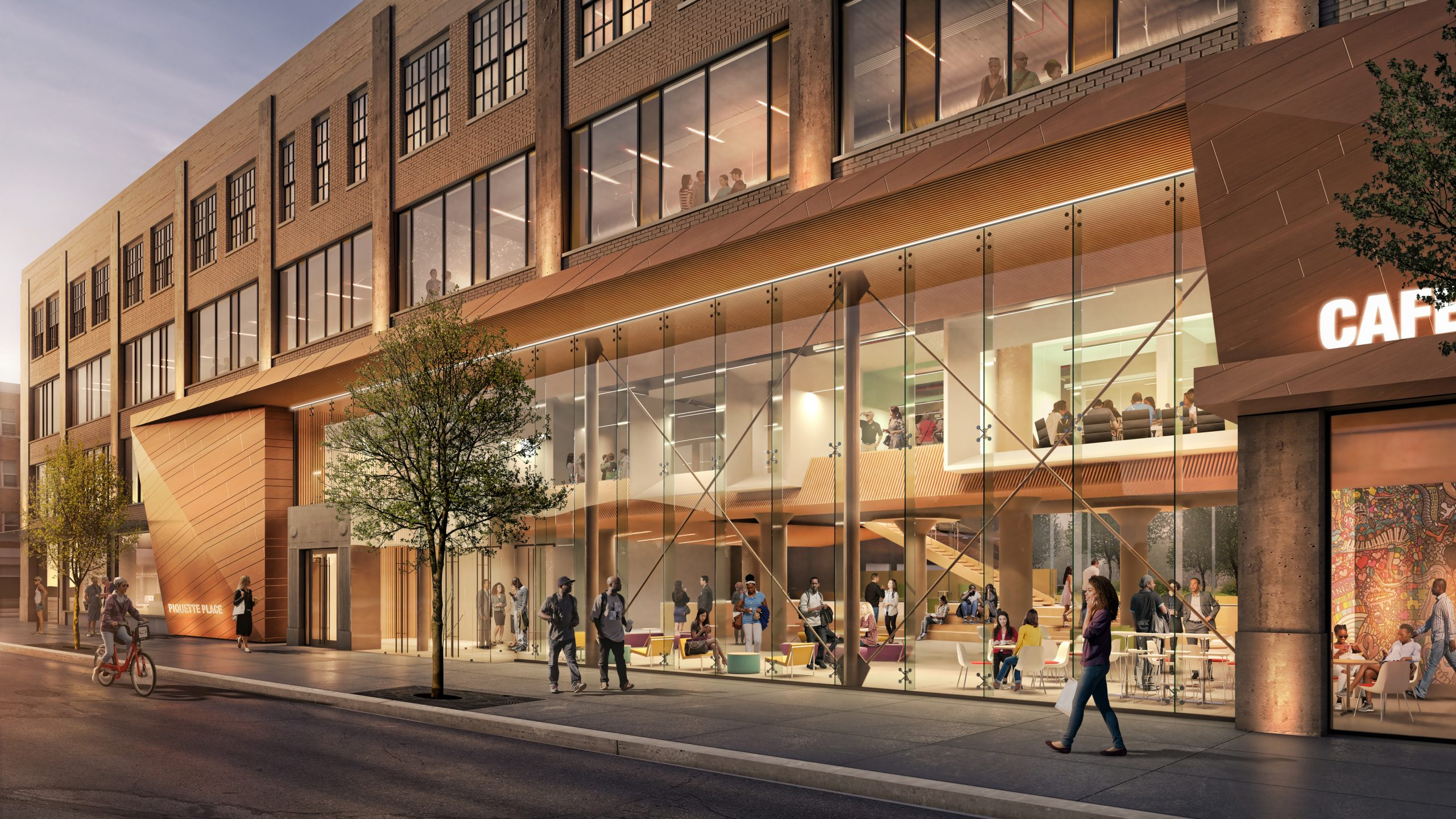 Rendering of street frontage at Piquette Place Commercial Office Project in Detroit Michigan Architecture Adaptive Reuse