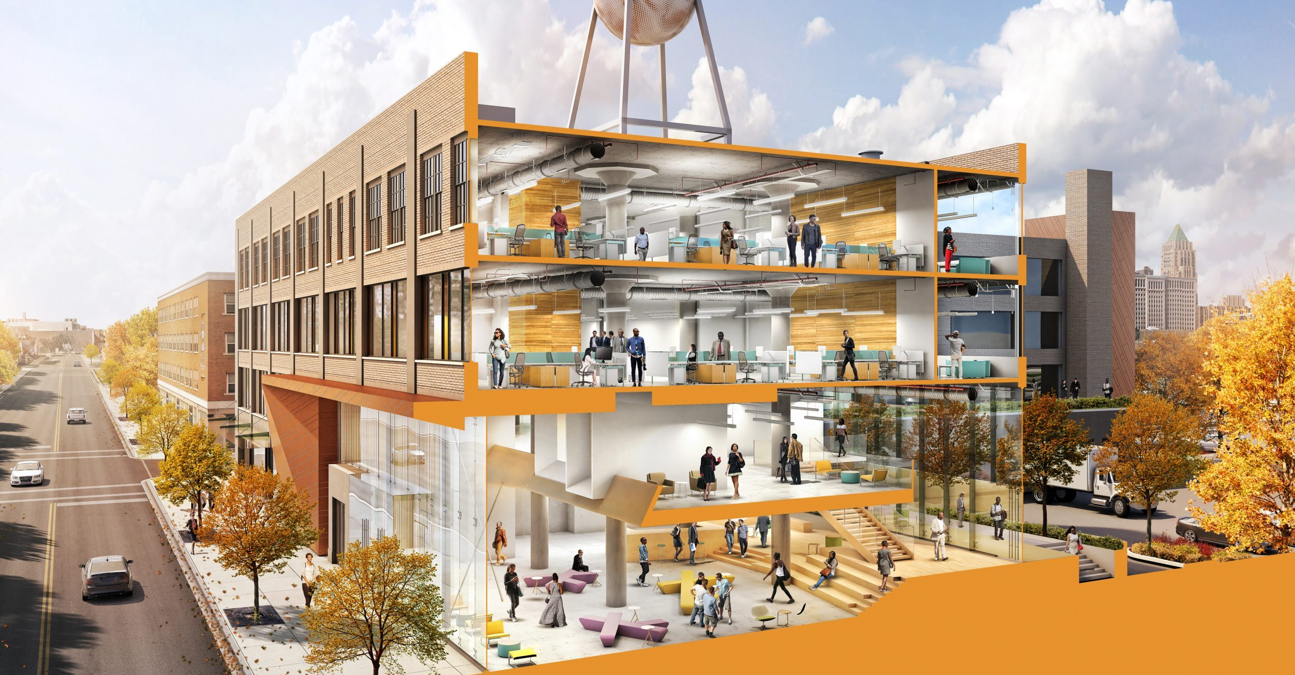 Rendered Section Perspective of Piquette Place Commercial Office Project in Detroit Michigan Architecture Adaptive Reuse