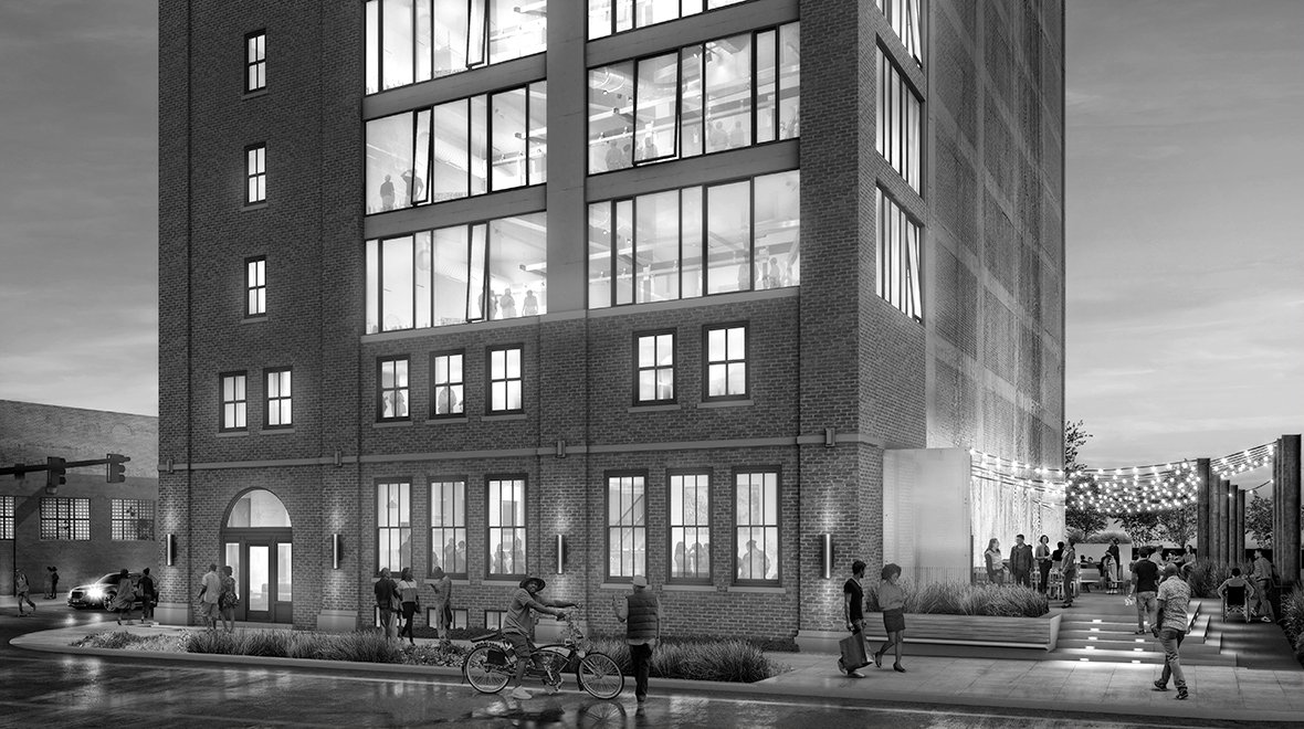 Rendering of Chroma Co-Working Project in Detroit Michigan Historic Preservation and Architecture Black and White