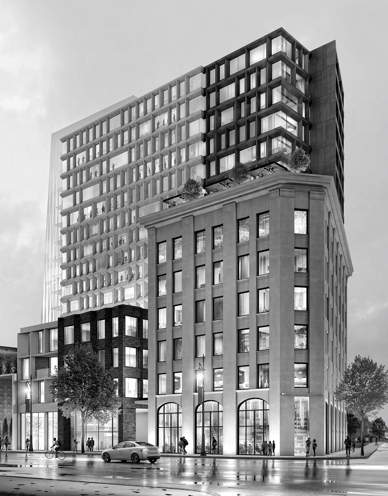 Rendering of the CPA Building and Hotel of the CPA Mixed-Use Development Project in Detroit Michigan Black and White