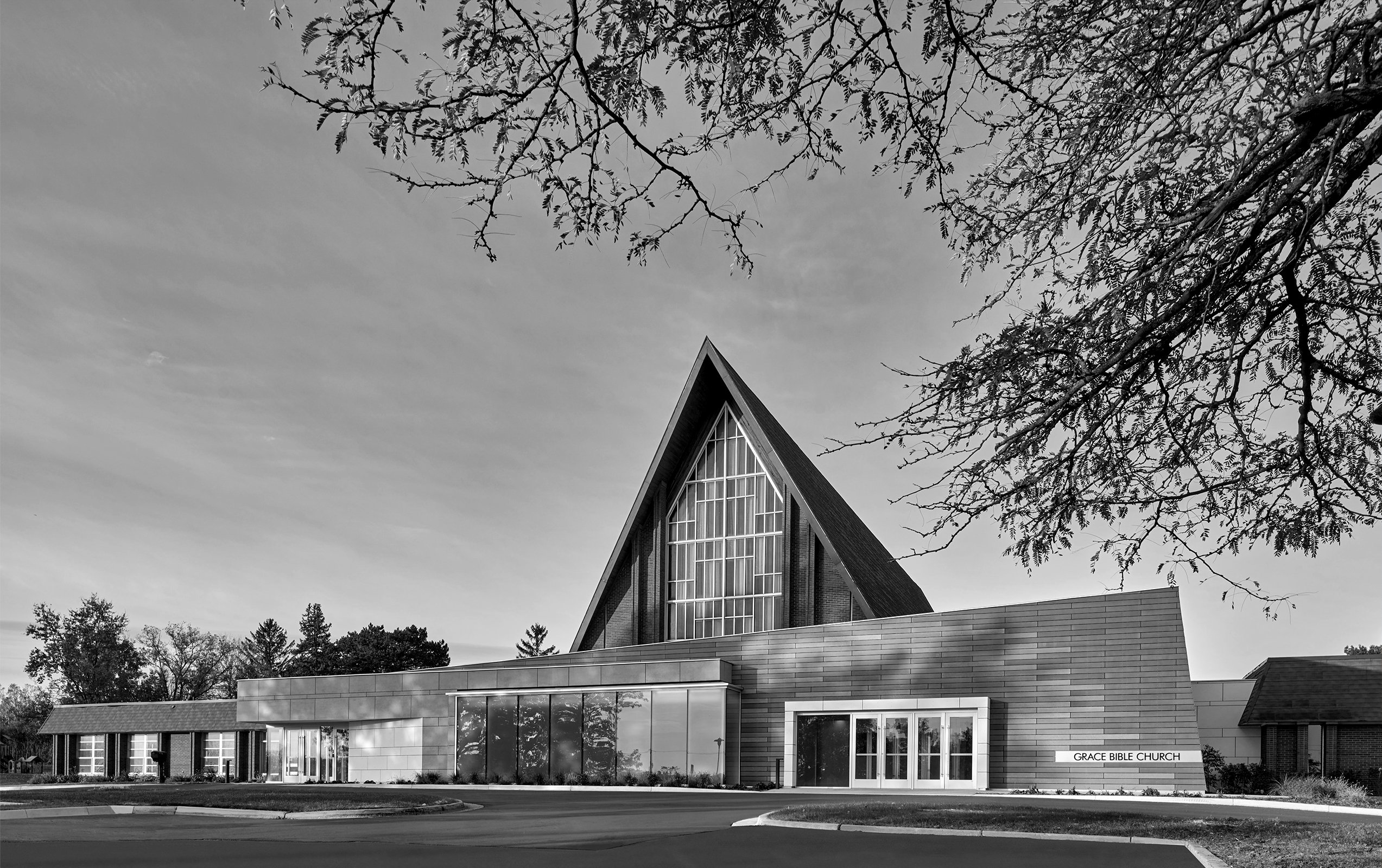 Grace Bible Church Project in Ann Arbor Michigan at Sunset black and white Architecture and Interior Design