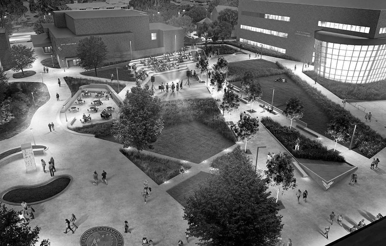 Aerial Rendering of Lansing Community College Quad Project Proposal in Michigan black and white Urban Design