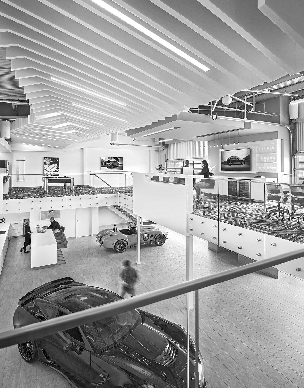 Interior of M1 Concourse Car Condos Project in Pontiac Michigan Architecture Black and White