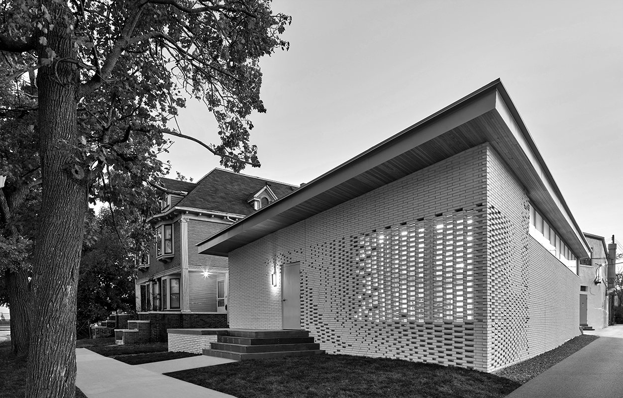 Front brick facade of the Pewabic Pottery Addition Project in Detroit Michigan Architecture black and white