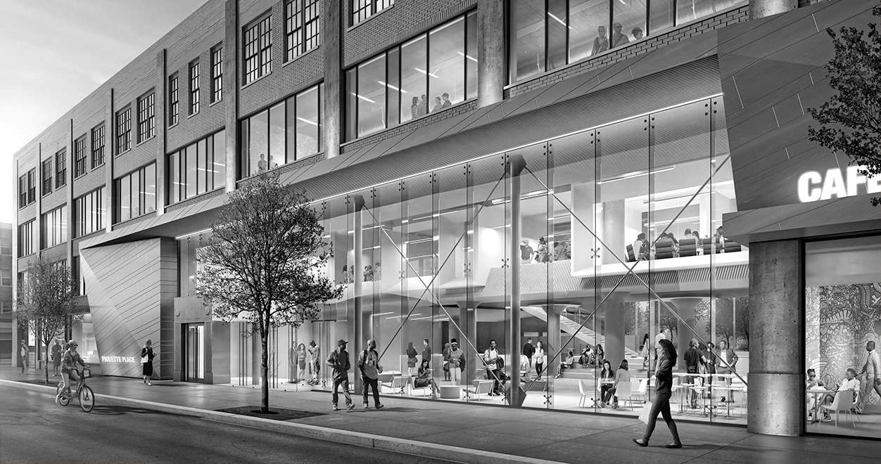 Rendering of the street at Piquette Place Commercial Office Project in Detroit Michigan Architecture Adaptive Reuse Black and White