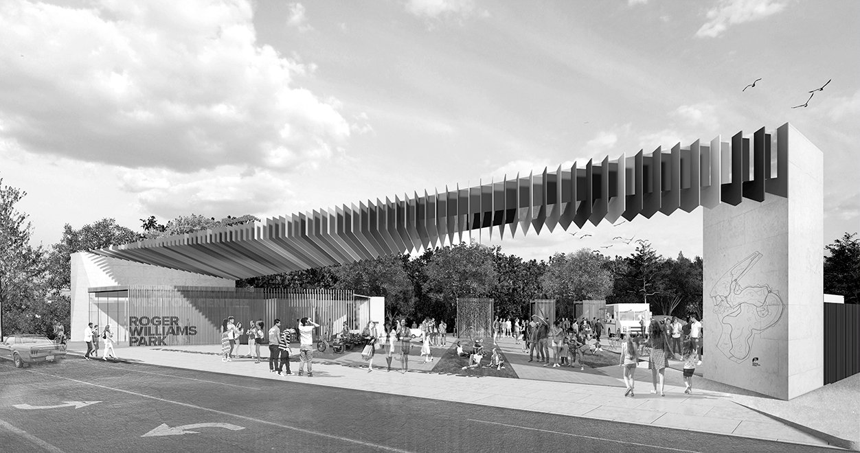 Rendering of Roger Williams Park Gateway and Visitor's Center Project on Broad Street in Providence Rhode Island Urban Design and Architecture black and white