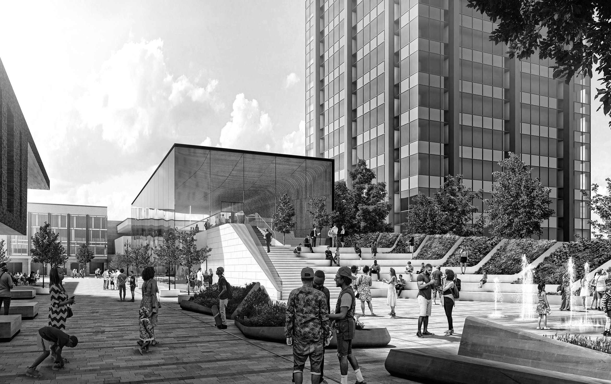 Rendering of the public plaza at the Mid Mixed-Use Development Project in Detroit Michigan Architecture and Urban Design Black and White