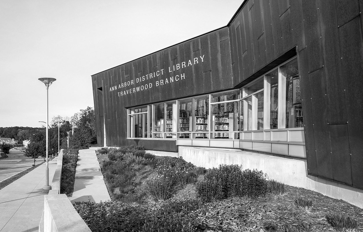 Exterior of Traverwood Branch of the Ann Arbor District Library System Project in Michigan Architecture black and white