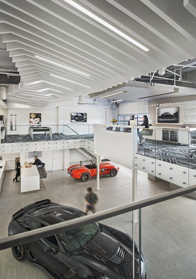 Interior view of Mezzanine at M1 Concourse Car Condos Project in Pontiac Michigan Architecture Interior Design