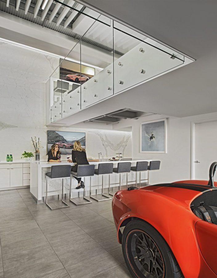 Interior view of kitchen at M1 Concourse Car Condos Project in Pontiac Michigan Architecture Interior Design